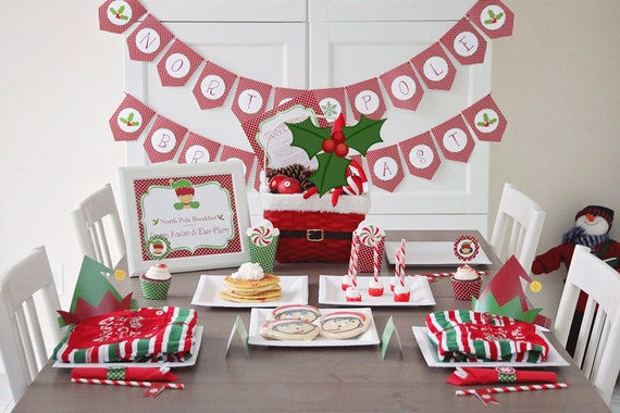 North Pole Breakfast Printable Set, Christmas Party Printable, North Pole Breakfast Ideas, Elf Printables, Christmas Breakfast, Holiday Elf