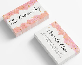 Watercolor Business Cards   Business card template   Gold confetti business   Marketing kit for small business