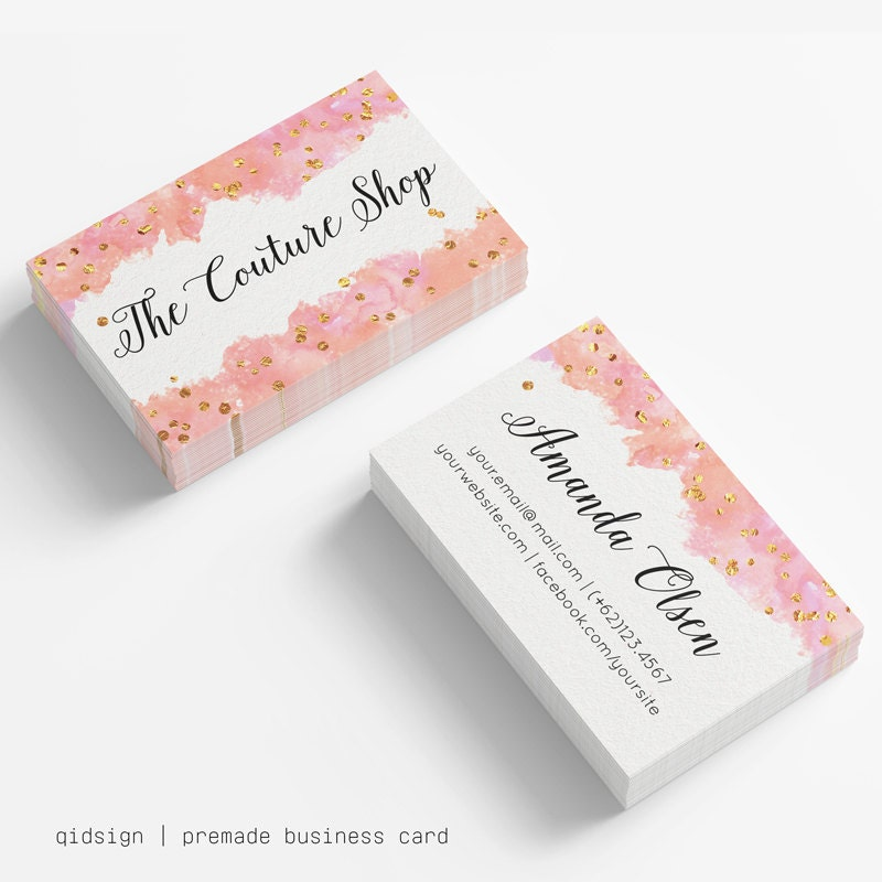 Watercolor business cards business card template gold for Etsy shop business cards