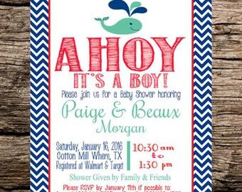 Ahoy Its A Boy! Baby Shower Invitation Printable