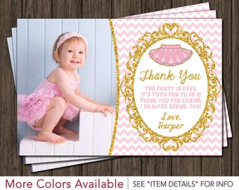 Tutu Birthday Thank You Card - Ballerina Birthday Thank You Card