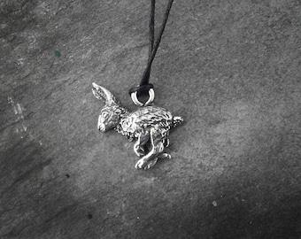 Running Hare Pendant, Pewter, Charm