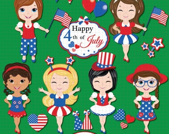 Fourth of July clipart, Independence day clipart, Patriotic clipart, American Flag, 4th of July, American girl, United States clipart