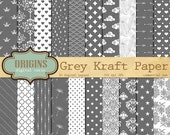 Gray Kraft Digital Paper - Kraft Paper patterns, kraft scrapbook paper, Grey digital kraft paper textures backgrounds, commercial use