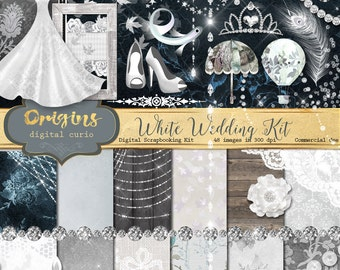 White Wedding Digital Scrapbook Kit for Bridal Showers, Wedding, Valentines, Marriage, Scrapbooking, Cards, Photographs, Invitations clipart