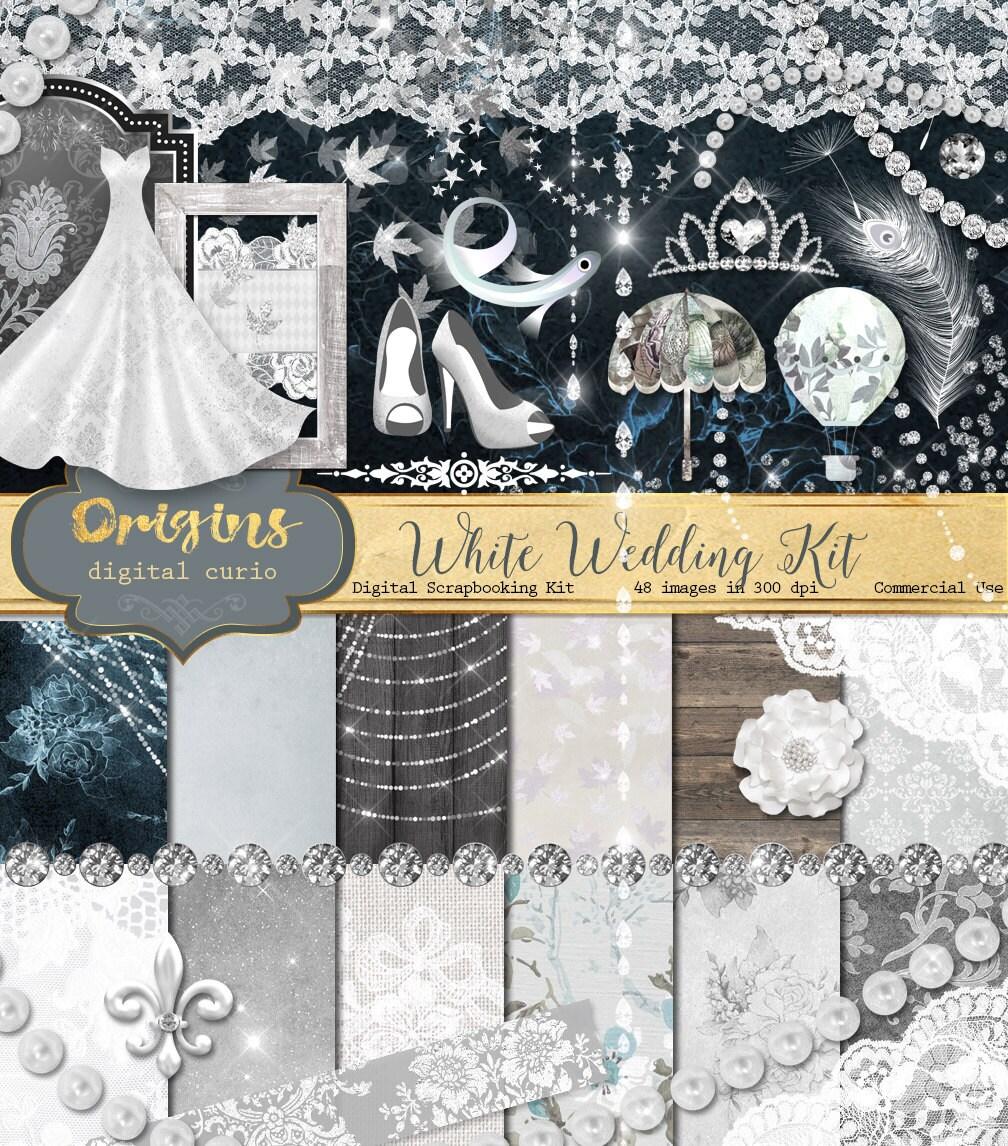 White Wedding Digital Scrapbook Kit For Bridal Showers