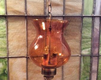 Vintage Swag Light, Vintage Swag Lamp, Pendant Light, Amber Swag Lamp, Vintage Hanging Lamp, Unusual, Unique
