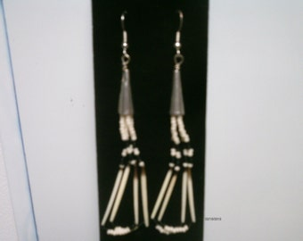 black and white porky quill earrings