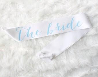 White and Light Blue Bachelorette Sash - Custom Lettered Sash - Bridsl Sash