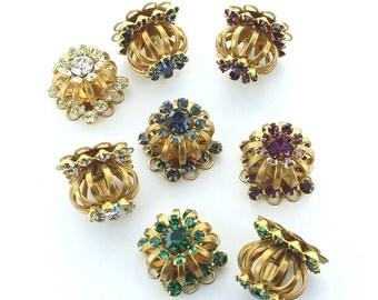 Swarovski  vintage crystals flower in brass component.  Price is for 1 piece.
