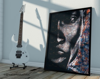 Young black man. African American Male Portrait. Photography Pintada. Wall decoration.
