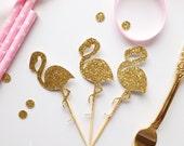 12 x Glitter Flamingo CupcakeToppers
