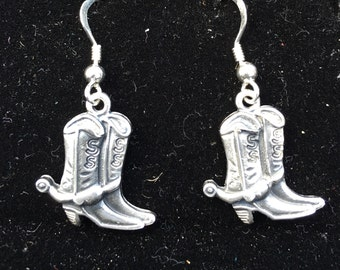 Sterling silver (925) cowboy boots earring