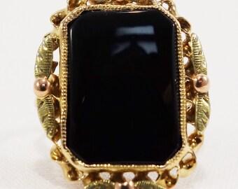 Vintage Mid - Century Onyx Ring Multi - Toned 14k Gold 1940