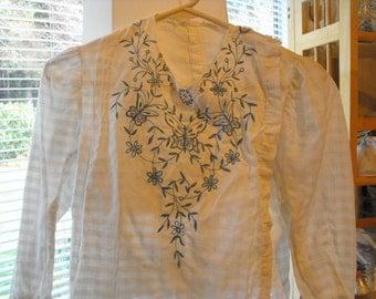 Antique Blouse, Handsewn Embroidered Shirt Waist, Pre- 1910 Edwardian Clothing, Open Work Blue Butterfly Shirt