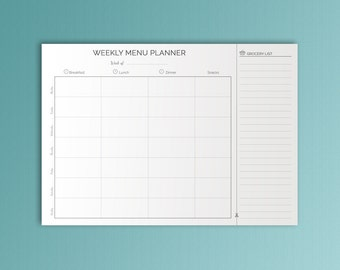 Meal Planner Printable Weekly Meal Plan Food Journal Food Diary Shopping list Meal Planning Printable Food planner Instant Dowload