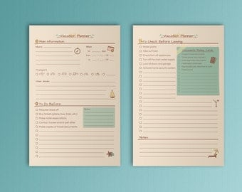 VACATION PLANNER Half Letter Size Inserts Filofax Inserts Packing Shopping List Printable PDF Travel Planner Half Letter Instant Download