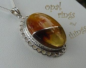 Amber Pendant, Dominican Amber Pendant, Baltic Amber Pendant, Amber Necklace, Sterling Silver Pendant, Amber Jewelery, Amber Jewellery