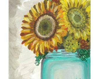 Sunflower art print  Sunflower in mason jar print from original painting, sunflower decor