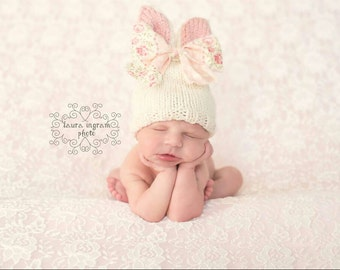 Knit Bunny Hat; Newborn Size Available; Newborn Photography