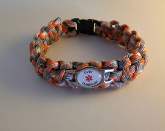 Had A Liver Transplant  Paracord Medical Alert Bracelet, Diabetes Type 2, Diabetes Type 1, ICD, Blood Thinners, Cancer, Free Shipping