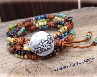 Beaded Wrap Bracelet/ Seed Bead Leather Wrap Bracelet/ Beaded Bracelet/ Boho Wrap Bracelet/ Triple Wrap Bracelet/ Multi-color Bracelet.