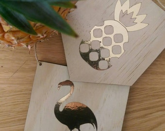 Flamingo wall art. Timber wall art with gold foil flamingo design