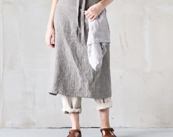 Long / garcon linen apron / Washed handmade linen chef / bistro apron in stripes