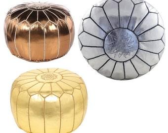 SET of 2 Metallic Gold, Silver or Bronze Moroccan Pouf/Ottoman