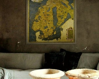 "Map of Scandinavia 1565, Old Scandinavia map, 4 sizes up to 36x36"" (90x90cm) Painted map, Sweden Norway Finland - Limited Edition of 100"