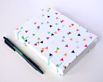 "Simple Handmade Notebook || Geometric Triangle Party || Journal, Diary, Sketchbook || 4.5"" x 6"" x .75"" 
