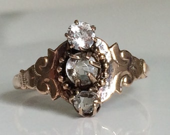 Victorian Rock Crystal Ring circa 1870 in 10K Gold