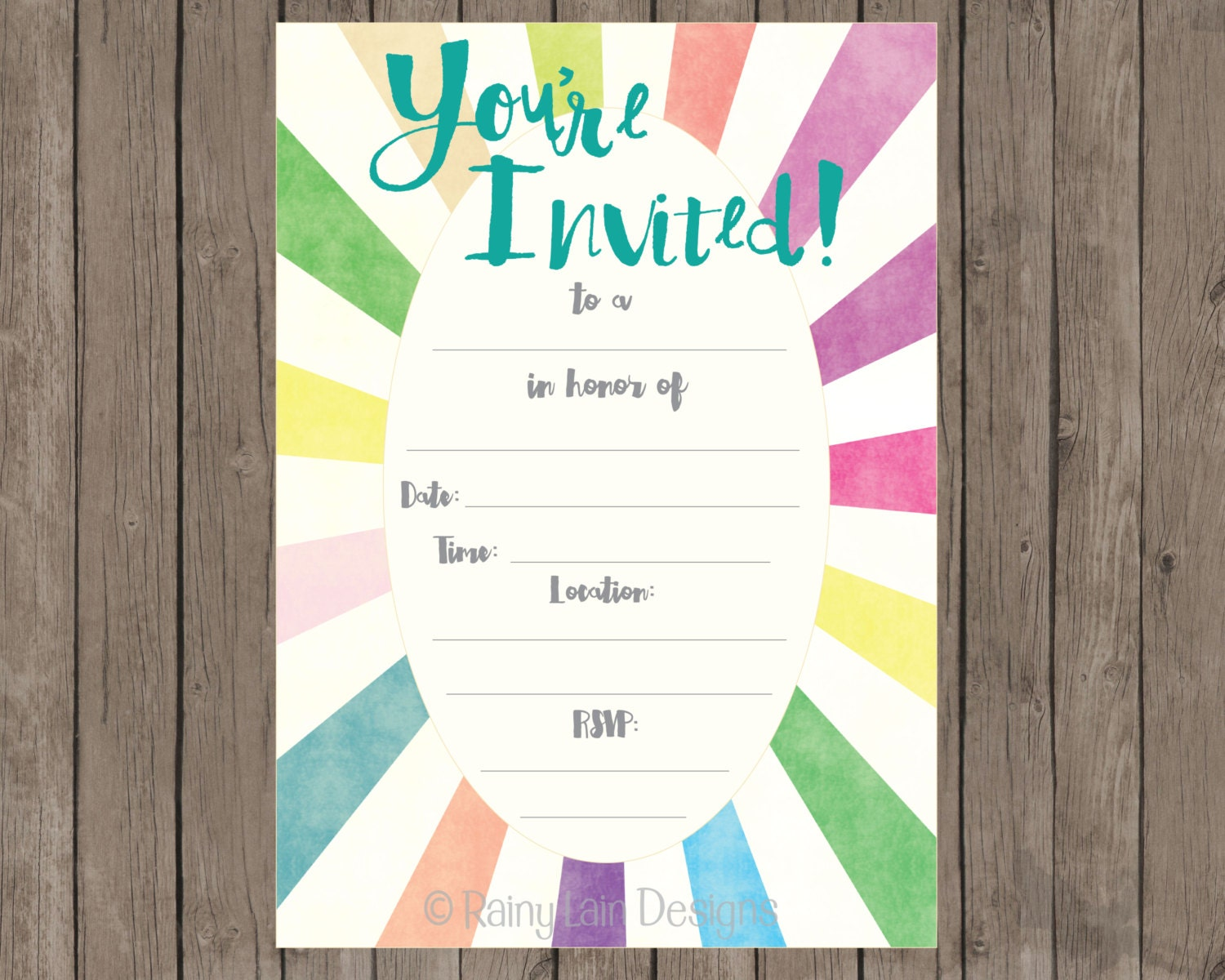 Fill in printable party invitations instant download blank for Bridal shower fill in invitations