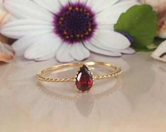 20% off-SALE! Red Garnet Ring - Genuine Gemstone - Slim Ring - Simple Ring - Tiny Ring - Stacking Ring - January Birthstone - Teardrop Ring