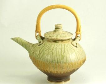Teapot – Handmade Teapot - Ceramic Tea Pot - Green Teapot – Unique Teapot  - Pottery Teapot with Cane Handle