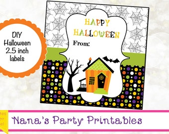 INSTANT DOWNLOAD - Halloween Favor Tags - Printable Halloween Labels - DIY - Halloween Party Label - Haunted House Label