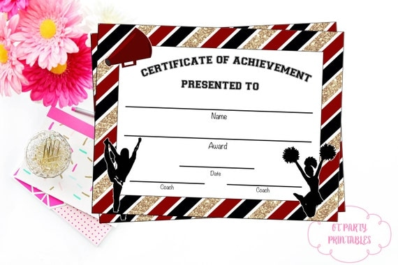 cheerleading certificate templates free - instant download cheerleading certificate cheerleading