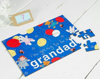 Grandad Jigsaw Wooden Secret message Illustrated I'm Going To Be a Grandad New Baby Announcement