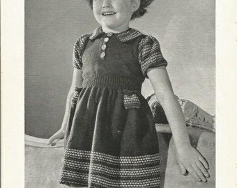 PDF 1940 Girls Short Sleeve Dress Knitting Pattern