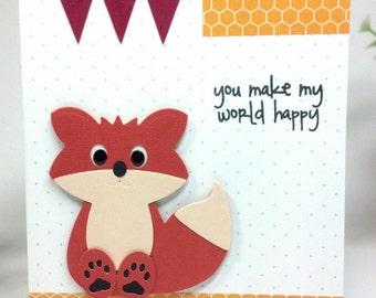 Handmade Happy Fox Card - 2 available