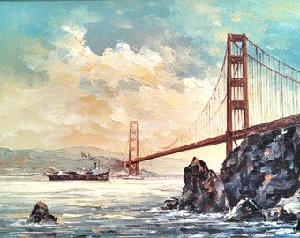 Golden Gate Bridge oil painting, 1980's