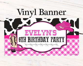 Western Cowgirl Birthday Banner  ~ Personalized Pink Cowgirl Party Banners - Girls Birthday Banner, Custom Personalized Banner