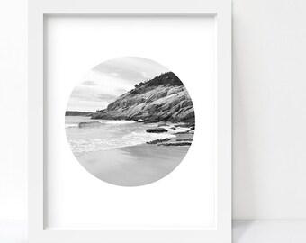 Black and White Photography, Beach Decor, Coastal Decor, Maine Coast Beach Art, Ocean Print, Nature Photography, Minimalist Poster