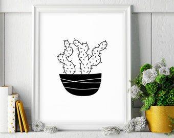 Cactus Print, Cactus Wall Art, Cactus Illustration, Cactus Decor, Cactus Art Print, Black and White Printable Poster, Digital Download Art