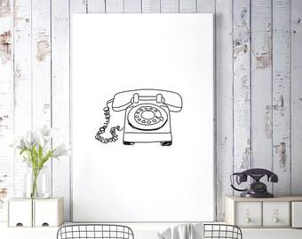 Black and White Sketch Art, Old Telephone Art, Vintage Rotary Phone Print, Line Drawing, Minimalist Printable Art, Digital Download Art