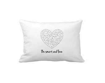 Set of 2, Designer Pillowcases, 100% Cotton, Fun Contemporary, Be smart and love, Minimal Bedding, Housewarming gift