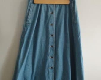 Vintage 90s/ Denim Button Down Maxi Skirt