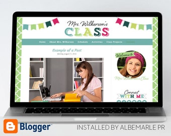 Premade Blogger Template, Mobile Responsive, Teacher Blog with Colorful Bunting - Mrs. Wilkerson