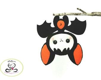 Baby Bat pattern- PDF file-Halloween Ornament-Felt Ornament-DIY-Instant download-Cute Bat toy