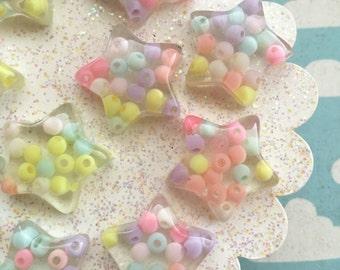 25mm Resin Star Cabochons - 6 pcs - Kawaii pastel bead stars!